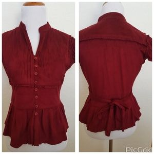 Burgundy Suede blouse